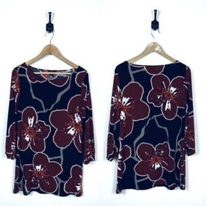 Ann Taylor Large Floral Blouse High Neckline Black